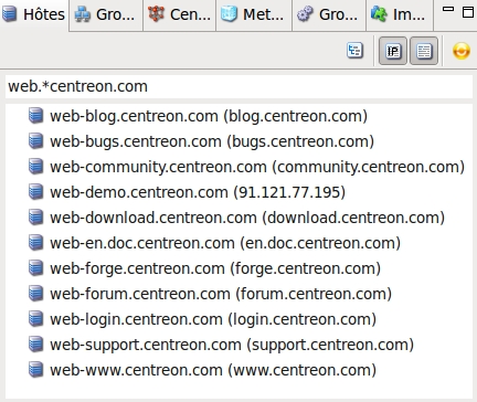 CentreonMap ResourcesSearchWithRegex